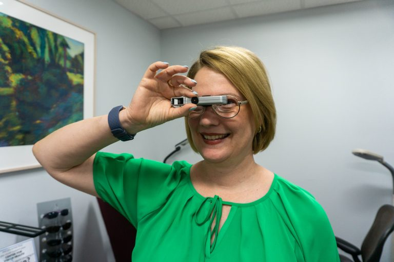 Dr. Fleming with low vision driving device